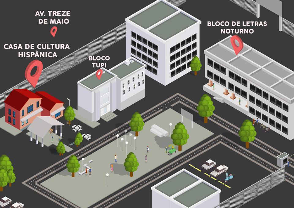 Mapa simplificado da Casa de Cultura Hispânica dentro do Centro de Humanidades I